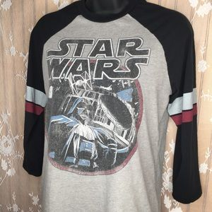 3/4 Sleeve Darth Vader/Death Star baseball tee